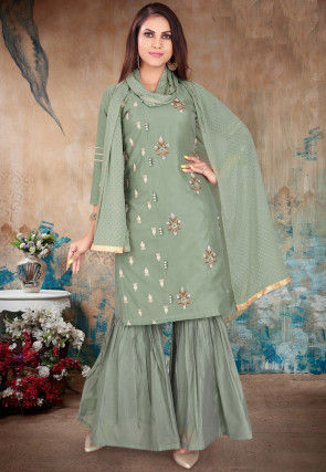 Hand Embroidered Chanderi Silk Pakistani Suit in Dusty Green