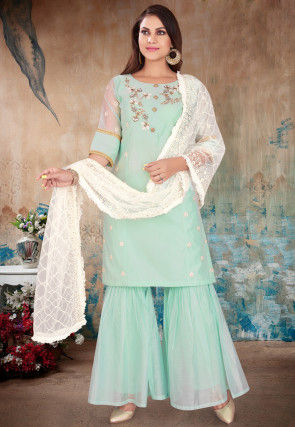 Hand Embroidered Chanderi Silk Pakistani Suit in Light Sea Green