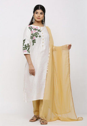 Hand Embroidered Chanderi Silk Pakistani Suit in Off White