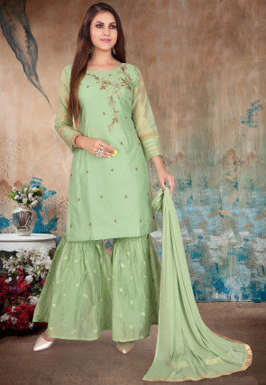 Hand Embroidered Chanderi Silk Pakistani Suit in Pastel Green