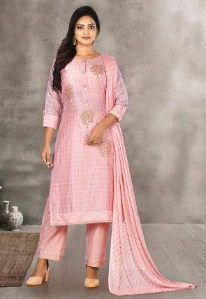 Hand Embroidered Chanderi Silk Pakistani Suit in Pink