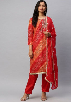 Hand Embroidered Chanderi Silk Pakistani Suit in Red and Orange
