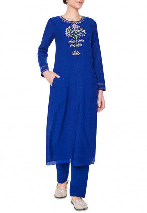 Hand Embroidered Chanderi Silk Pakistani Suit in Royal Blue