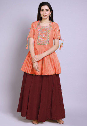 Hand Embroidered Chanderi Silk Peplum Style Kurti in Peach