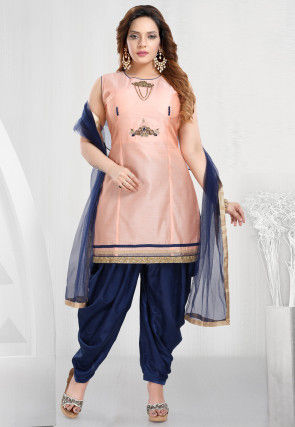 Hand Embroidered Chanderi Silk Punjabi Suit in Peach