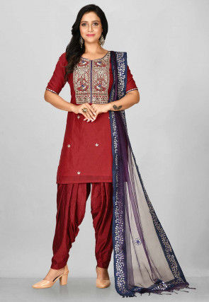 Hand Embroidered Chanderi Silk Punjabi Suit in Red