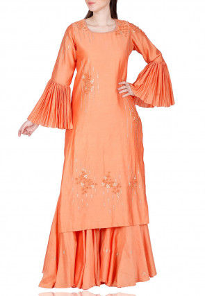 Hand Embroidered Chanderi Silk Straight Kurta Set in Orange