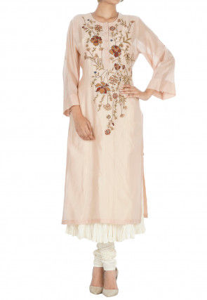 Hand Embroidered Chanderi Silk Straight Kurta Set in Peach