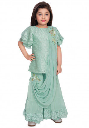 Hand Embroidered Chantelle Net Pakistani Suit in Sea Green