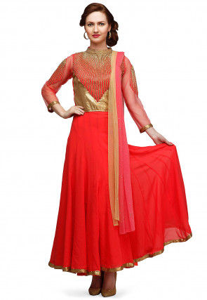 Hand Embroidered Chiffon Abaya Style Suit in Coral Red