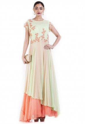 Hand Embroidered Chiffon Abaya Style Suit in Green and Peach