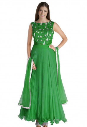 Hand Embroidered Chiffon Abaya Style Suit in Green