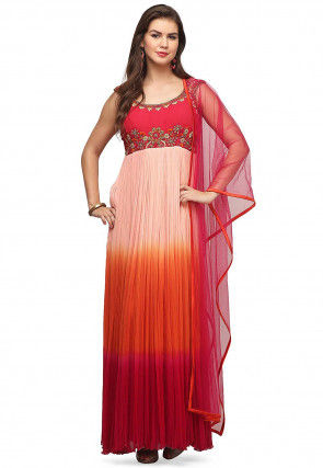 Hand Embroidered Chiffon Abaya Style Suit in Multicolor