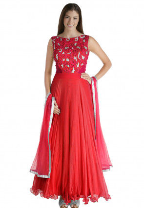 Hand Embroidered Chiffon Abaya Style Suit in Red