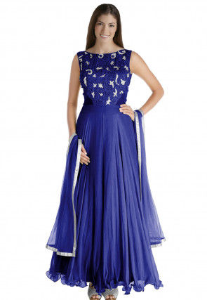Hand Embroidered Chiffon Abaya Style Suit in Royal Blue