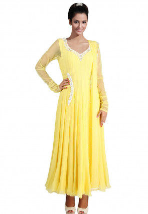 Hand Embroidered Chiffon Abaya Style Suit in Yellow