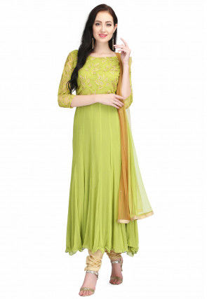 Hand Embroidered Chiffon Anarkali Suit in Light Green