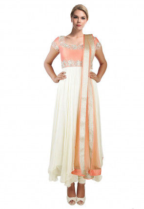 Hand Embroidered Chiffon Anarkali Suit in Off White and Peach