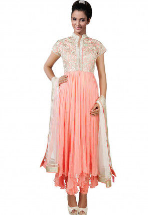 Hand Embroidered Chiffon Asymmetric A Line Suit in Peach
