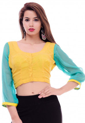 Hand Embroidered Chiffon Blouse in Yellow and Turquoise