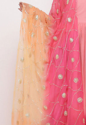 Hand Embroidered Chiffon Dupatta in Shaded Peach and Pink