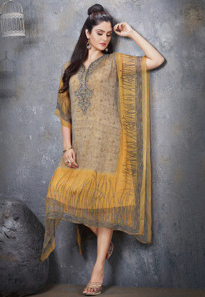 Hand Embroidered Chiffon Kaftan in Beige and Yellow
