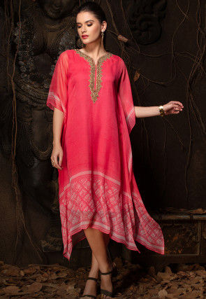 Hand Embroidered Chiffon Kaftan in Coral Pink