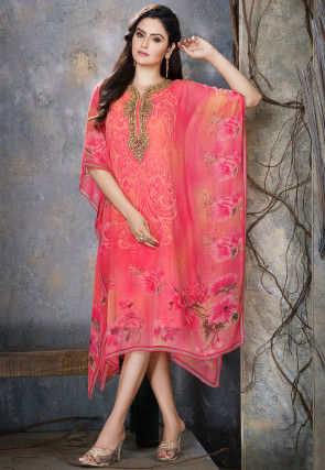 Hand Embroidered Chiffon Kaftan in Fuchsia and Peach