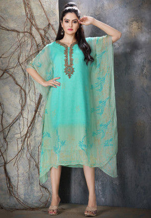 Hand Embroidered Chiffon Kaftan in Light Blue