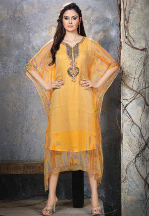 Hand Embroidered Chiffon Kaftan in Light Orange