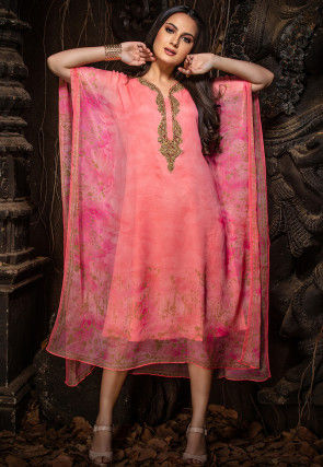 Hand Embroidered Chiffon Kaftan in Light Peach
