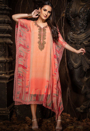 Hand Embroidered Chiffon Kaftan in Peach