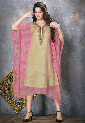 Hand Embroidered Chiffon Kaftan in Pink and Beige