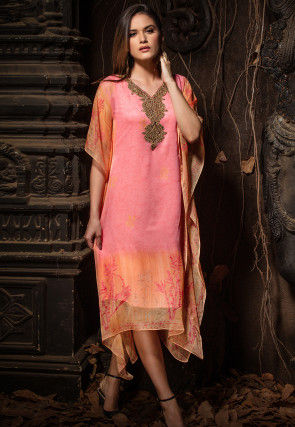 Hand Embroidered Chiffon Kaftan in Pink