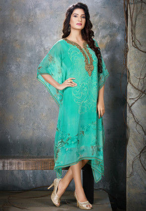 Hand Embroidered Chiffon Kaftan in Sea Green