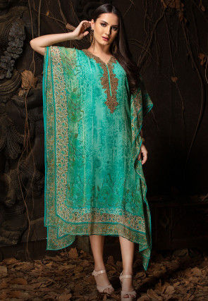 Hand Embroidered Chiffon Kaftan in Turquoise