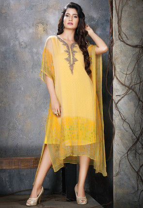 Hand Embroidered Chiffon Kaftan in Yellow