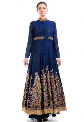 Hand Embroidered Chiffon Lehenga in Navy Blue