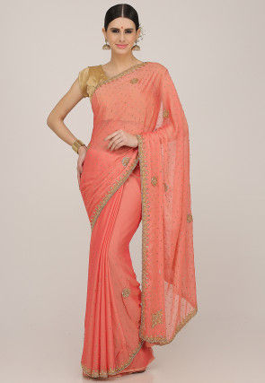Hand Embroidered Chiffon Saree in Peach