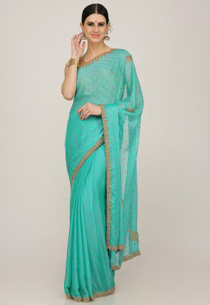 Hand Embroidered Chiffon Saree in Turquoise