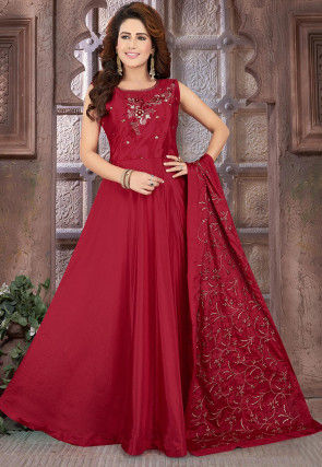 Hand Embroidered Chinon Chiffon Abaya Style Suit in Maroon