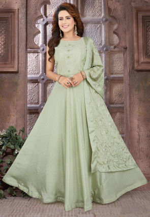 Hand Embroidered Chinon Chiffon Abaya Style Suit in Pastel Green