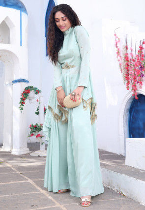 Hand Embroidered Chinon Chiffon Asymmetric Kurti Set in Green