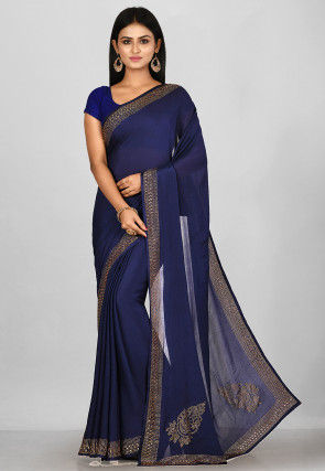 Hand Embroidered Chinon Chiffon Saree in Navy Blue