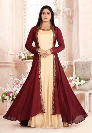 Hand Embroidered Chinon Crepe Gown in Beige and Maroon