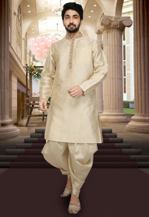 Hand Embroidered Collar Art Silk Dhoti Kurta in Beige