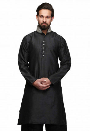 Hand Embroidered Collar Art Silk Kurta in Black