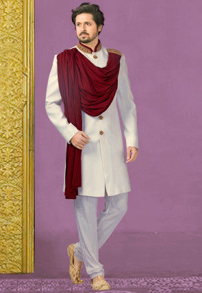 Hand Embroidered Collar Terry Rayon Sherwani in Off White