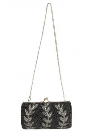 Hand Embroidered Cotton Box Clutch in Black