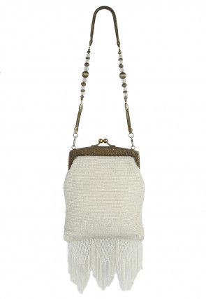 Hand Embroidered Cotton Brass Frame Batua Clutch in White